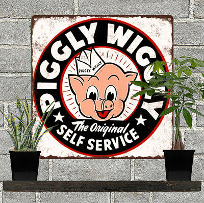 """Piggly Wiggly Grocery Self Service Home Decor Kitchen Metal Sign 12x12"""" 60751"""