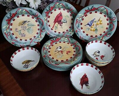 Lenox Winter Greetings Everyday Dinner Plates Cereal Bowls LOT