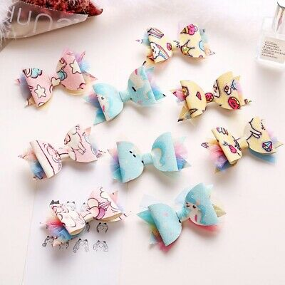 Unicorn Sequined Lace & Bow Hairpin Clips Hair Accessories For Kids Baby Girls