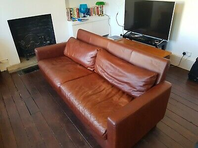 Habitat CHESTER 3 Seater Sofa - tan brown leather - vintage style danish modern