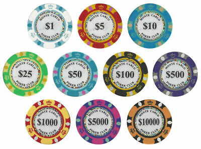 Monte Carlo 14g Clay Poker Chips Sample Set New - 10 Denominations