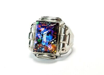 Vintage Mens Ring Art Deco Diochric Opal Glass Sterling Ring Size 11.25-5