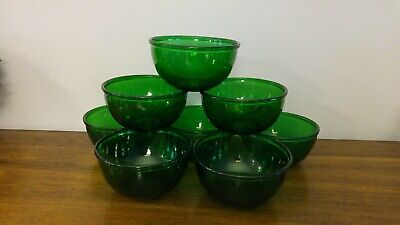 Emerald green depression glass bowls 6 inch. Lot of 8 dishes vintage forest grn