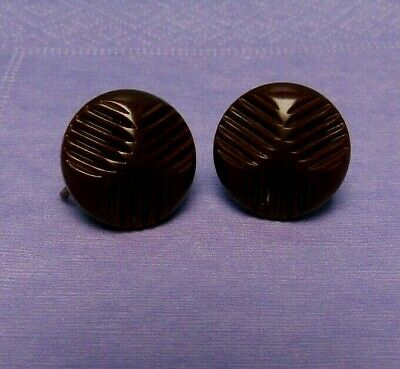 Vintage Carved Bakelite Art Deco Brown Screw Back Button Earrings Ex Condition
