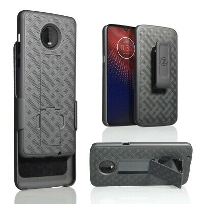 For Motorola Moto Z4 Verizon 5G Moto Z4 Holster Belt Clip Slim Combo Case Black