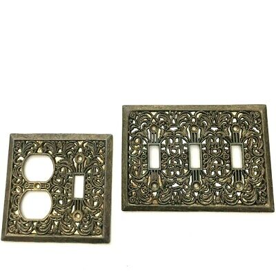 Vintage Ornate Filigree Brass Light Switch Plate Outlet Covers 2 Pc Antique Gold