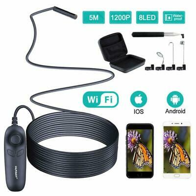 Wireless Endoscope, 1200P HD Inspection Camera with Light (8 Blue LED), 5M Semi-
