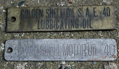 1 Brass + 1  Steel Large Antique Shell Motor Oil  ID Tags (for Bottles/Barrels)