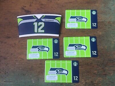 LOT OF 4 NEW STARBUCKS SEATTLE SEAHAWKS 12th man GIFT CARDS & 12 cup sleeve