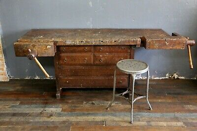 ANTIQUE OAK CARPENTERS Workbench, Kitchen island, Cabinet ...