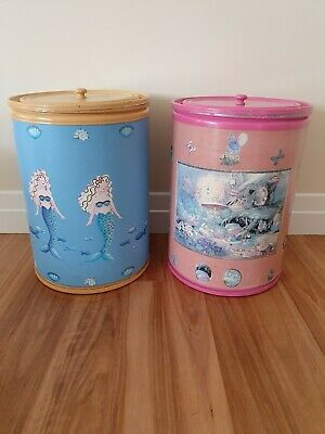 2 x huge unique toy box storage drums boxes tubs pink fairy mermaid