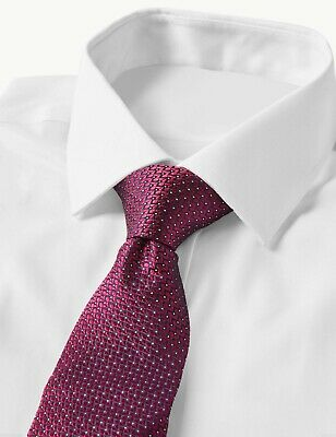 M&S Marks and Spencer COLLECTION LUXURY * Pure 100% Silk * Micro Spot Tie Cerise