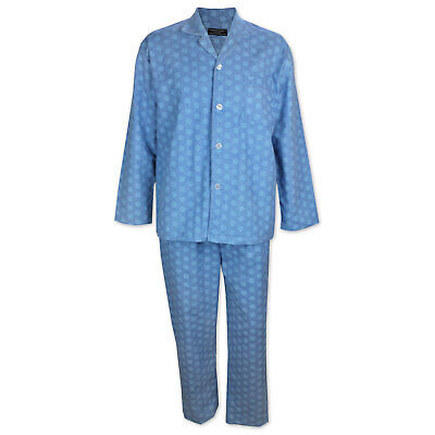 Mens S-XXL Pyjamas Contare Cotton Flannel Long Pjs Set Light Blue Hex