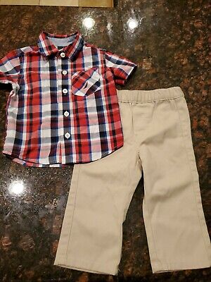 Nautica Baby Boy 2 Piece button down shirt & pant Set Size 3-6 Months 4th ofJuly