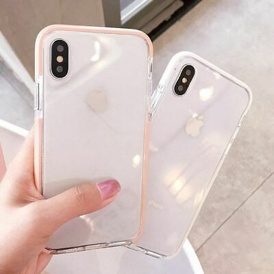 iPhone 8 Plus 7 6s XS MAX Clear Shockproof Tough Silicone Bumper TPU Cover Case