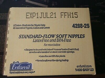 Pack Of 12 Enfamil Standard-Flow Soft Nipple Suitable Ready to use Latex-free