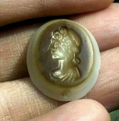 Ancient Eye Banded  Agate king of Macedon King Signet Stone Seal Engraved Bead