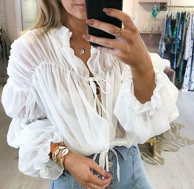 3d5787c5868 Womens Ladies Chiffon Flare Bell Sleeve Tie Up Cropped Top Blouse Top Shirt