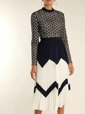 52a190651dd8 Sweetheart Crochet Pleated Lace Chiffon Patchwork Portrait Dress-Self  Delivery