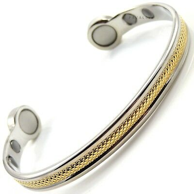 EXTRA STRONG MAGNETIC BRACELET bangle carpal arthritis pain relief gold silver