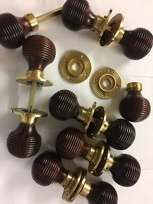 8 Pairs Rosewood Beehive door handles,REEDED Victorian antique beehive DOOR Knob
