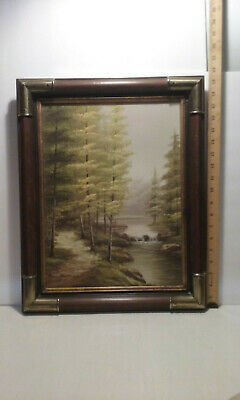 Vintage Dark Wood & Brass Corners Picture Art Frame Pine Trees Water Fall Boyd M