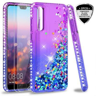 Case Huawei P20 Pro Tempered Glass Screen Protector 2 Pack 3D Glitter Clear Gel