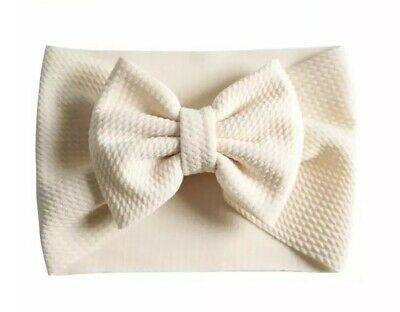 New Girls Baby Fabric Headband Bow Turban Ivory Newborn & Upwards 💞🎀💞