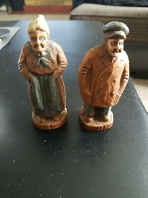 Antique hand carved wood figurines Old Man And his wife estate find