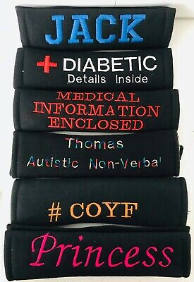 Personalised Car Seat Belt Cover Pad,Medical/Diabetic/Autistic/ICE/ Name/Safety