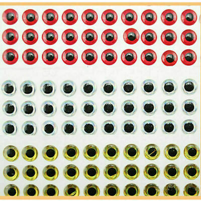 100PCS 3D Fish Eyes Holographic Lure Eyes for FlyTying Jigs Crafts Dolls 8m K3E6