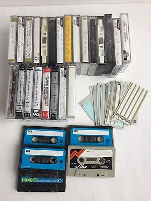 Lot of 28 Pre-Recorded & Blank Cassette Tapes & Labels Maxell TDK Sony & More