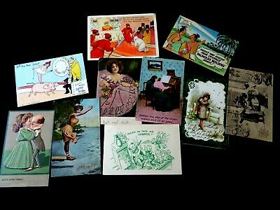Vintage Estate Postcard Lot -  Signed Advertising Pig Leprechaun Gnome Etc