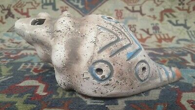 LARGE Pre Columbian style Clay Snail Shell Ocarina Whistle Maya Aztec Instrument