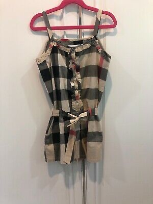 4513bb5bf075 AUTHENTIC Burberry Children Girl's Girls Check Romper Dress W/ Pockets 12Y