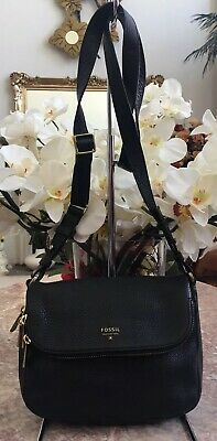 7857dc4e2f4af Fossil Preston Black Pebble Leather Small Flap Crossbody Bag EUC, MSRP $168