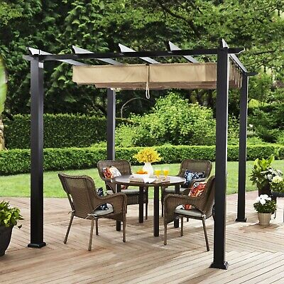 67c95b009ad7 Garden Pergola Canopy Gazebo Retractable Sun Shade Metal Frame Outdoor  Shelter