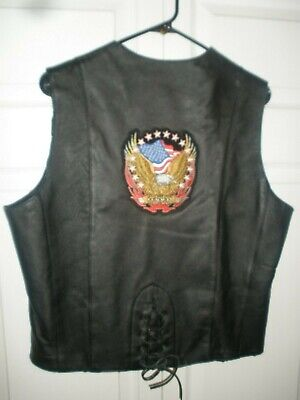 USA bikers XL leather 'Eagle/Flag' patched motorcycle vest