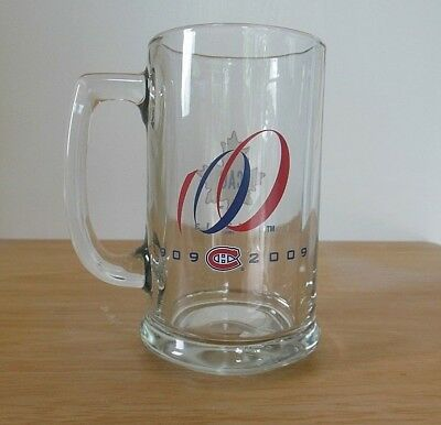 Montreal Canadiens Beer Mug Buck 100th Anniversary Clear Glass Handled NHL