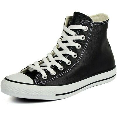 Converse Mens Chuck Taylor All Star Hi Leather 1S581 Black/White Sizes 10.5 11.5