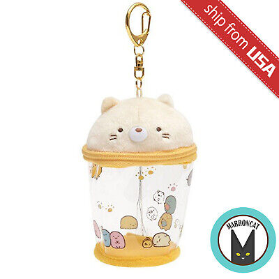 Japan San-X Sumikko Gurashi Cat Boba Milk Tea Cup Plush Keychain Cute Kawaii Toy