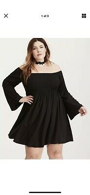 8595462be468 TORRID Smocked Bell Sleeve Dress Off Shoulder Sexy NWT Size 2 msrp $64.90