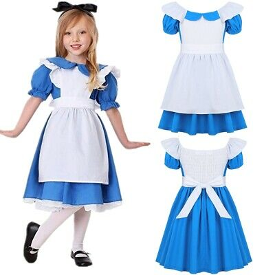 Kids Girl Alice Fairytale Princess Costume Halloween Party Fancy Dress Up Outfit
