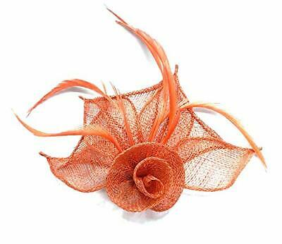 Coral Red - Flower Petal & Feather - Hair Fascinator - Beak Clip - Race Weddings