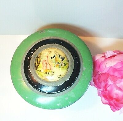 VINTAGE METAL TIN VANITY POWDER VICTORIAN WOMAN courting couple green striped