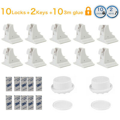 10X Baby Kids Child Cupboard Cabinet Magnetic Safety Locks Pets Proofing Drawer
