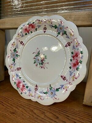 Antique English Victorian 19th Century Hand Decorated Scalloped Rim Plate 21cm