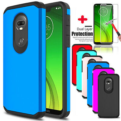 For Motorola Moto G7 Power/Supra/Play Armor TPU Case Cover With Screen Protector