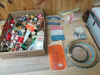 Lot of Vintage Sewing Thread, Notions, Shears, Cord, Etc