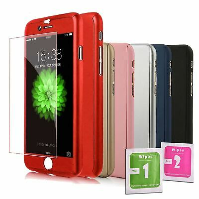 Full Case Cover + Tempered Glass for IPHONE 5 5S SE 6 6S 7 8 PLUS X XS Colors